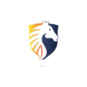 Horse logo design. Stylish graphic template design for company farm race.