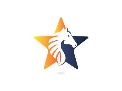 Star Horse logo design. Creative star and horse icon design.