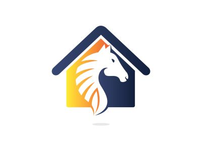 Horse and house logo design template. Creative horse and house icon design.