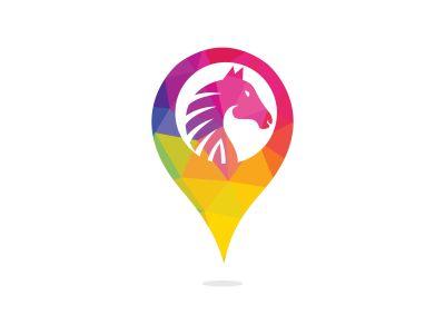 Horse and map pointer logo design. Horse locator logo design. Animal place icon.