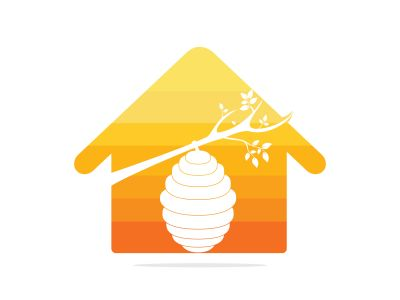 Honeycomb Hive And Home Logo Vector Design. Honey icon flat vector illustration for logo, web, app, UI.