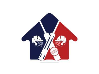 Cricket home vector logo design. Cricket championship logo. modern sport emblem. vector illustration.