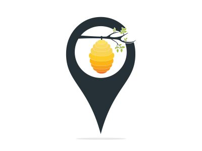 Honeycomb Hive And map pointer  Logo Vector Design. Honey icon flat vector illustration for logo,