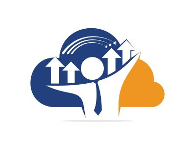 Businessman and graph cloud shape vector logo design. Businessman logo icon. People logo icon. Business logo sign.