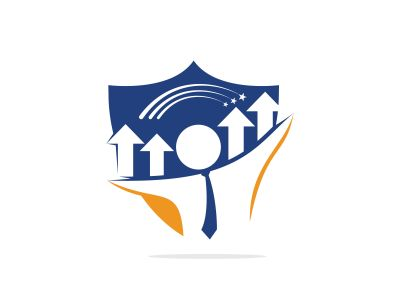 Businessman and graph vector logo design. Businessman logo icon. People logo icon. Business logo sign.