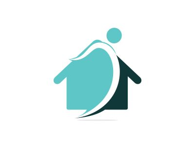 Home with happy human vector logo design. Charity, help and support organization vector design.