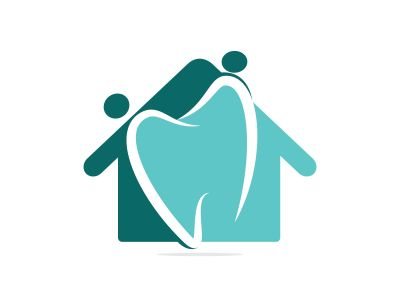 Family home dental medical clinic logo design. Abstract human, tooth and house vector logo design.