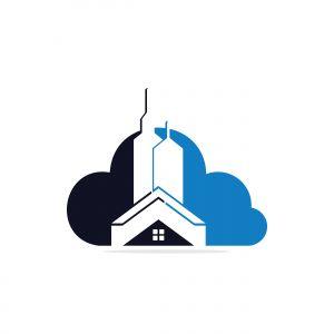 Cloud Real estate vector logo design. Building and cloud logo design. Building Estate Logo with Skyscrapers.