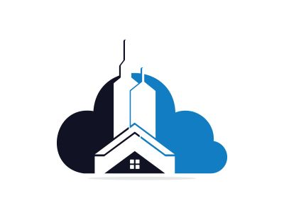Cloud Real estate vector logo design. Building and cloud logo design. Building Estate Logo with Skyscrapers.