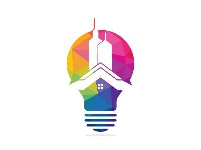 Bulb city logo design. Building Idea logo template, Modern Bulb City logo designs concept.
