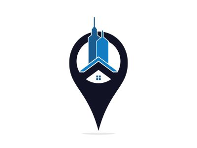 Real estate locator vector logo design. Real estate Pin map symbol vector design. Real estate pinpoint symbol.
