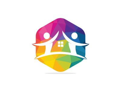 Cloud home and people logo design.