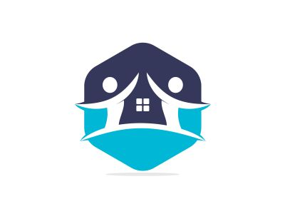 House and people logo design. House and joyful people vector logo template