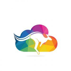 Kangaroo cloud shape logo design concept. Creative kangaroo vector logo design concept.