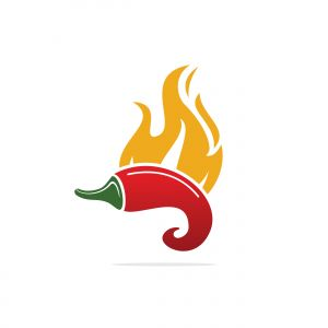 Chili hot and spicy food vector logo design inspiration. Chili pepper logo. Hot chili with fire flame.