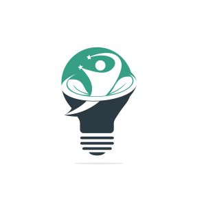 Human health and care vector logo design template. Human, leaves and light bulb icon logo design.