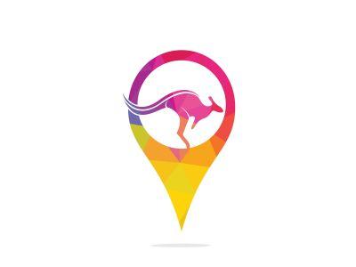 Kangaroo vector logo with gps pointer design. Kangaroo and GPS vector logo design template.