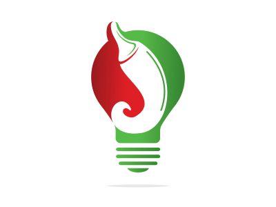 Chili and light bulb vector logo design. Hot food logo concept vector. Hot chili icon symbol.