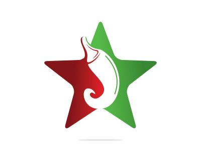Chili and star vector logo design.Hot food logo concept vector. Hot chili icon symbol.