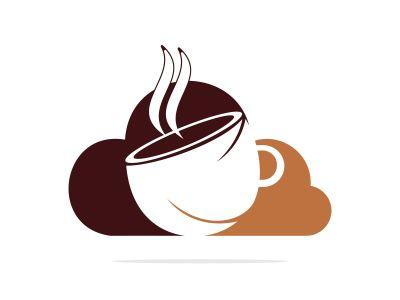 Coffee Cloud Logo Icon Design. Coffee cup on cloud logo design.