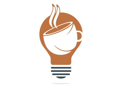 Bulb With Coffee Cup Logo Template. Coffee Idea logo designs vector template.