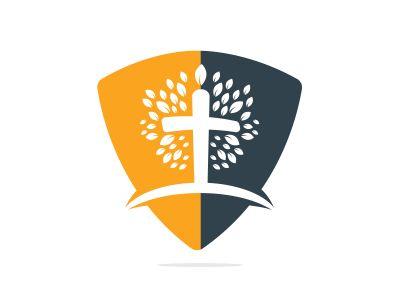 Tree religious cross symbol icon vector design. Prayer tree vector logo design template.