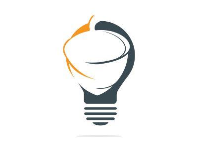 Light bulb and acorn logo design. Acorn logo illustration vector template.
