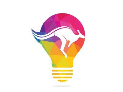 Kangaroo bulb shape logo design concept. Creative kangaroo vector logo design ideas concept.