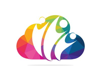 Community cloud abstract logo. Happy People logo. Teamwork symbol. Social logo. Partnership people icon.