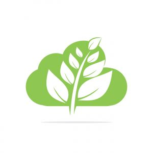 Cloud leaves vector logo design. Abstract organic element vector design. Ecology Happy life Logotype concept icon.