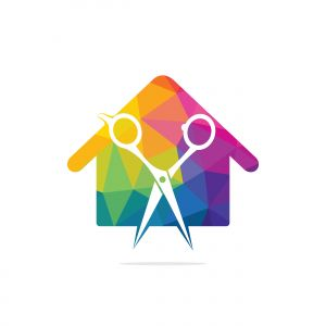 House Of Scissors Logo Design Icon Template. Barbershop vector logo design template.