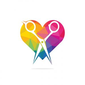 Love barber vector logo design. Scissors and heart vector logo design. icon idea for barbershop brand.