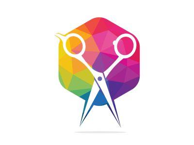 Logo for barbershop, hair salon. Scissors icon barbershop logo sign.
