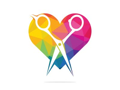 Love barber vector logo design. Scissors and heart vector logo design. icon idea for barbershop brand.