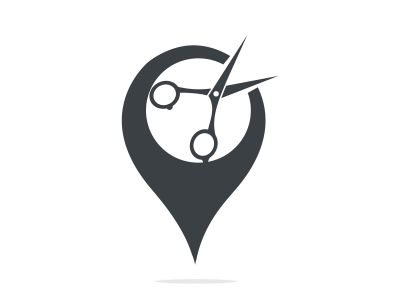 Point Barbershop Logo Template. Gps and Scissors icon vector design.