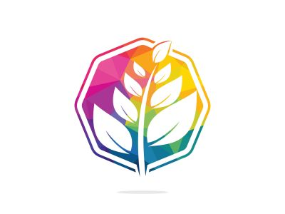 Nature logo design. Green tropical leaves icon. Tree foliage logotype template.