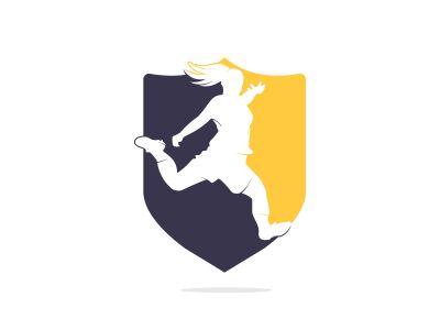 Women football club vector logo design. Women football sports business logo concept.