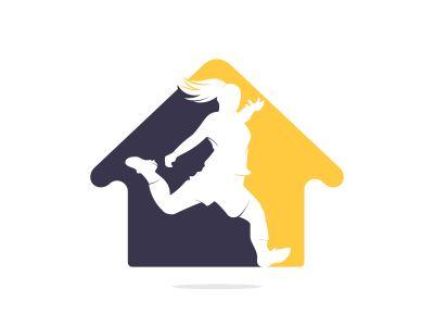 Women football club vector logo design. Women football player and home icon vector design.