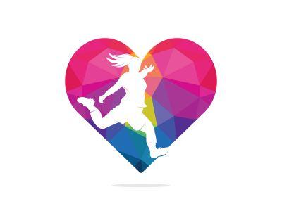 Women football club vector logo design. Women football player and heart icon vector design.