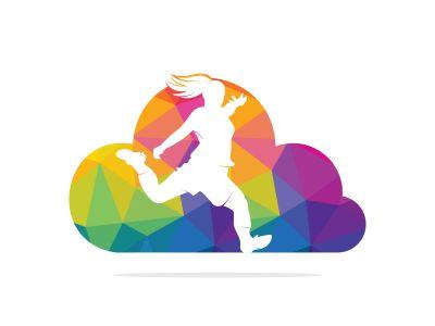 Women football club vector logo design. Women football player and cloud icon vector design.