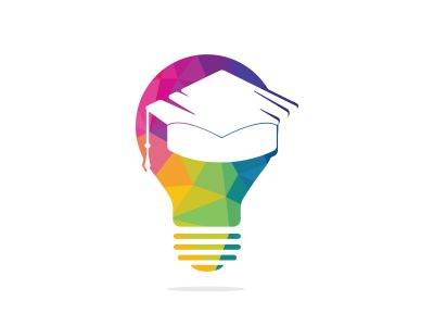 Light bulb and graduation cap logo. Creative Lamp Idea Genius Logo Design Symbol.