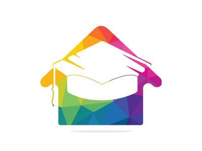 Education house shape logo design. Graduation cap and house icon. Education vector design template.