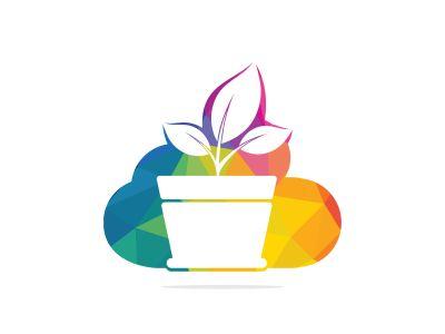 Cloud and Flower Pot Logo Design. Growth vector logo design template.