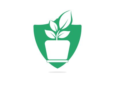 Flower pot and plant logo. Growth vector logo.