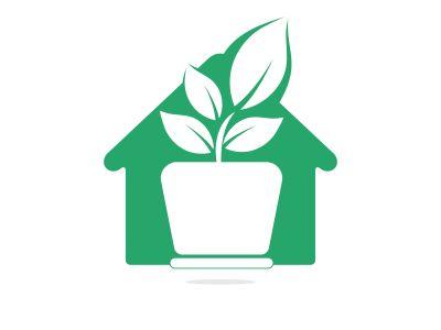 Flower pot and plant logo. Growth vector logo. Eco house shaped sign.