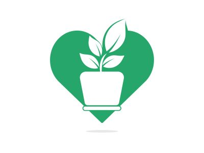 Flower pot and plant logo. Growth vector logo. Heart shaped sign.