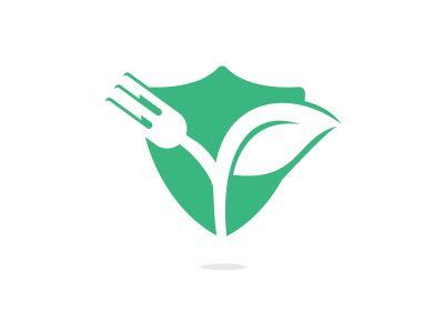 Fork and leaf vector logo design. Organic food concept with Fork and leaf.