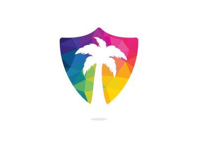 Tropical beach and palm tree logo design. Creative simple palm tree vector logo design