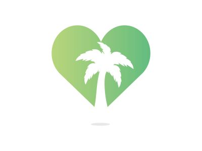 Heart shaped tropical beach and palm tree logo design. Creative simple palm tree vector logo design.