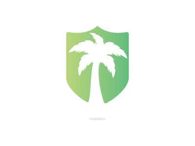 Tropical beach and palm tree logo design. Creative simple palm tree vector logo design